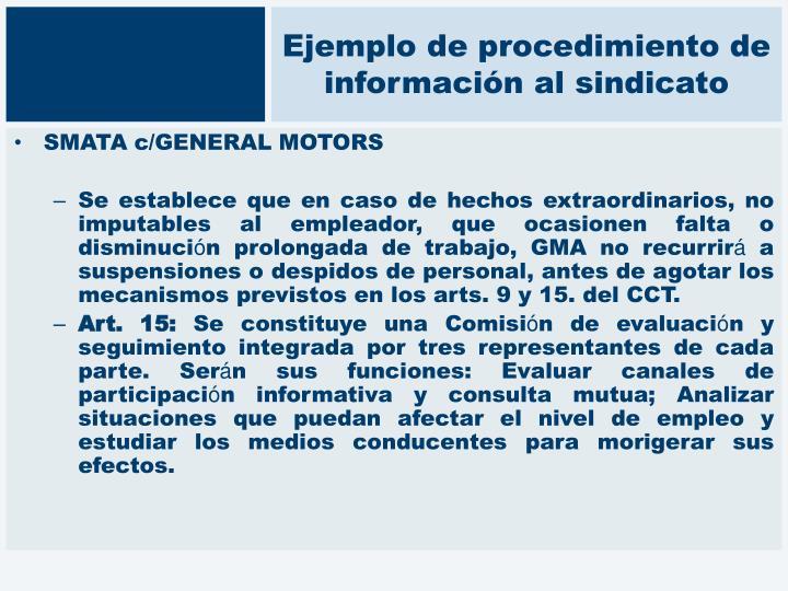 Ejemplo de procedimiento de información al sindicato