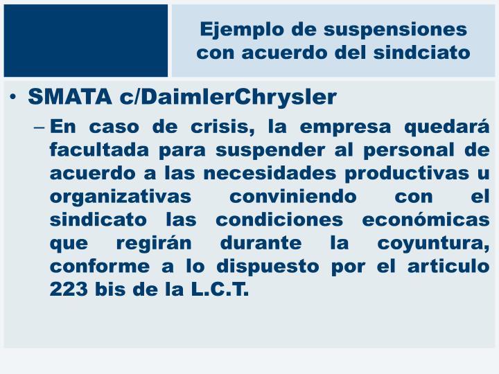 Ejemplo de suspensiones con acuerdo del sindciato