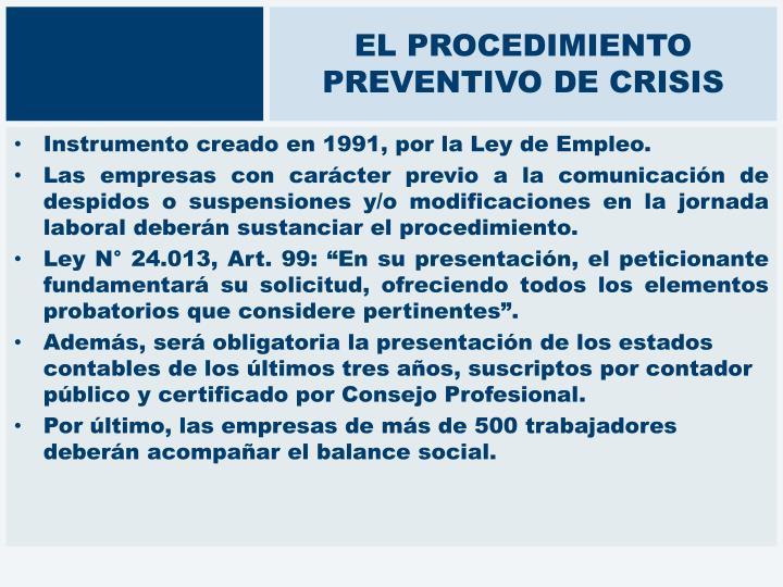 EL PROCEDIMIENTO PREVENTIVO DE CRISIS