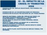 iii el impacto de la crisis iv trimestre 2008