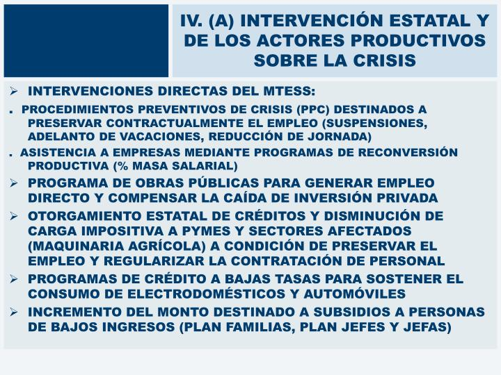 IV. (A) INTERVENCIÓN ESTATAL Y DE LOS ACTORES PRODUCTIVOS SOBRE LA CRISIS