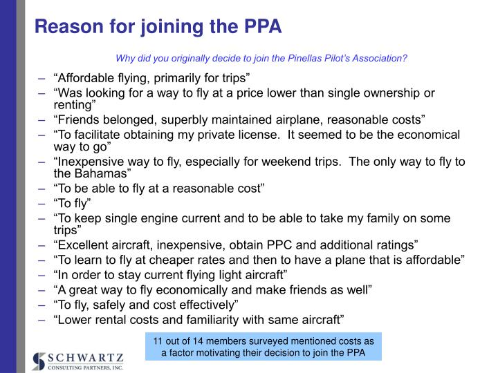 Reason for joining the ppa