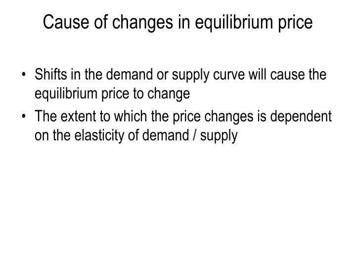 Cause of changes in equilibrium price
