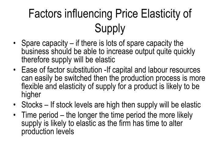 Factors influencing Price Elasticity of Supply