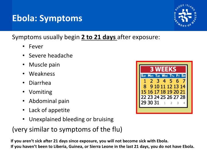 Ebola: Symptoms