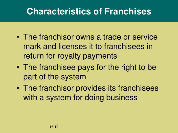 Characteristics of Franchises