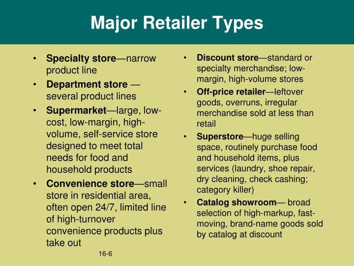 Major Retailer Types