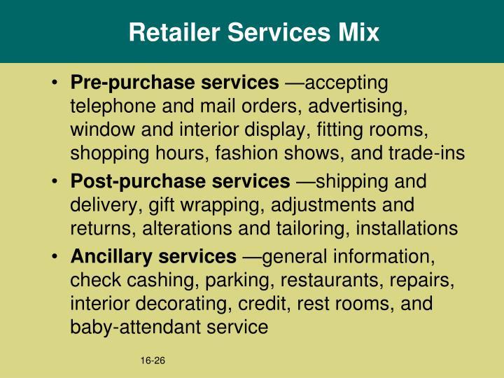 Retailer Services Mix