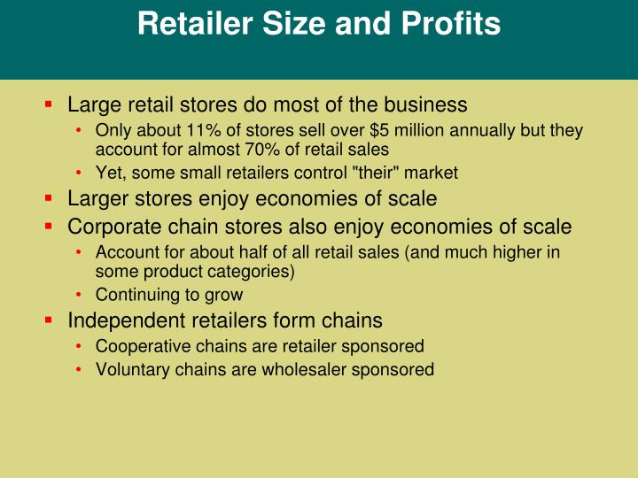 Retailer Size and Profits