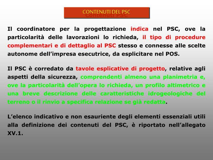 CONTENUTI DEL PSC