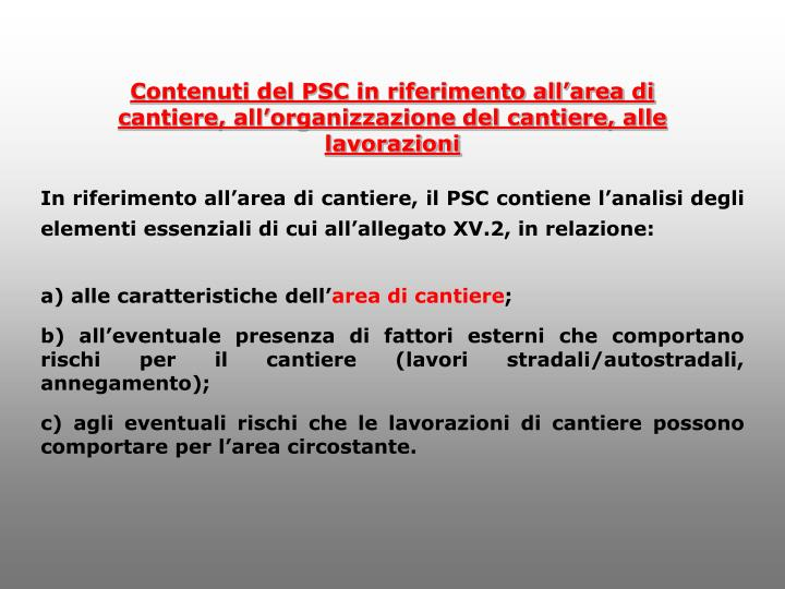 Contenuti del PSC in riferimento all'area di
