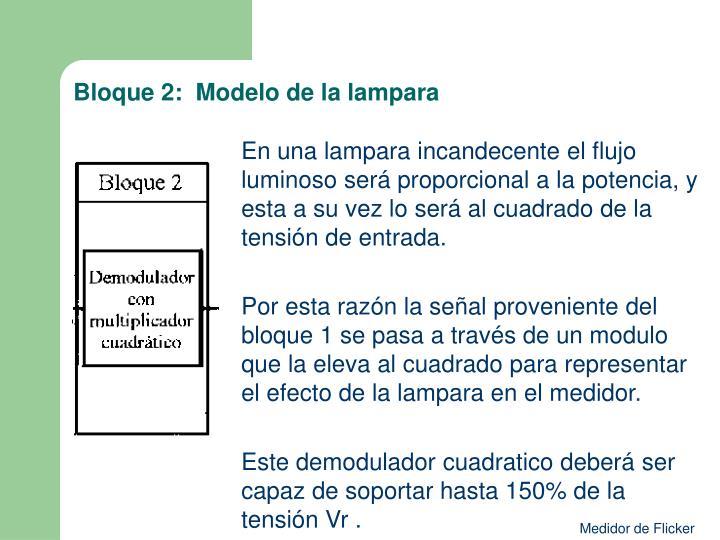 Bloque 2:  Modelo de la lampara