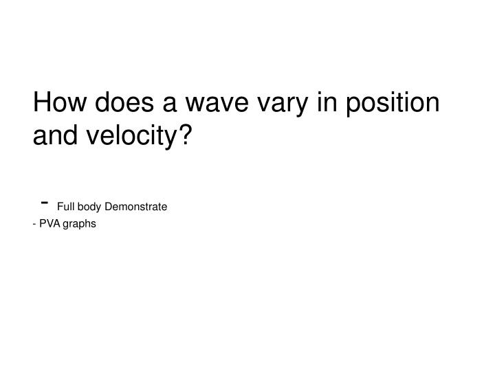 How does a wave vary in position and velocity?