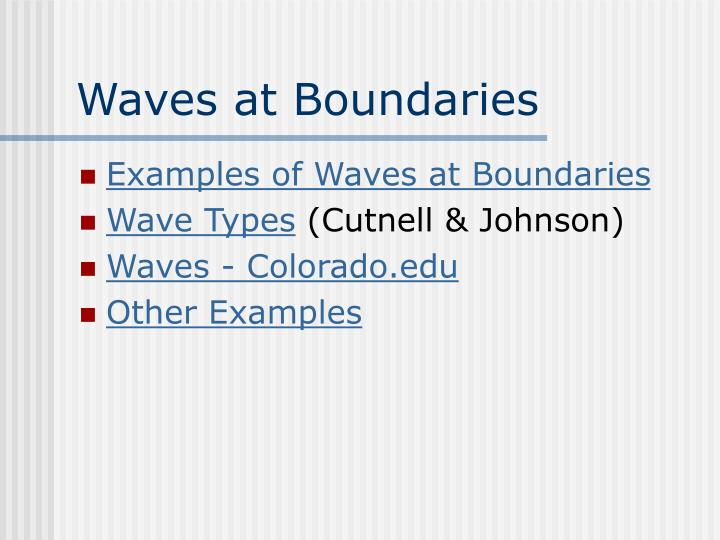 Waves at Boundaries