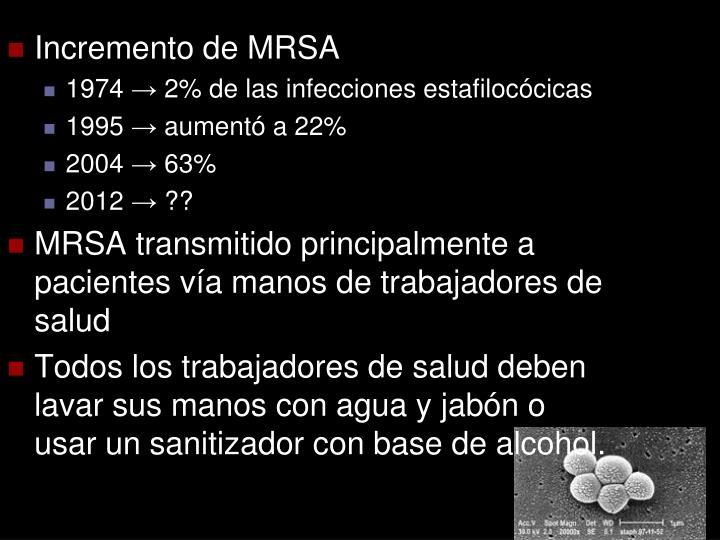 Incremento de MRSA