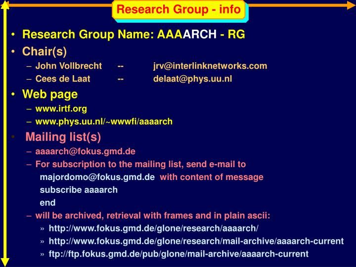Research Group - info