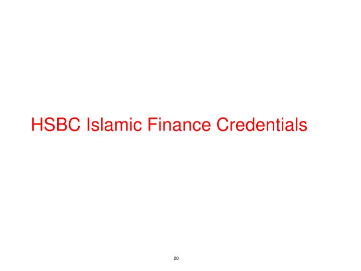 HSBC Islamic Finance Credentials