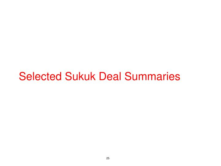 Selected Sukuk Deal Summaries