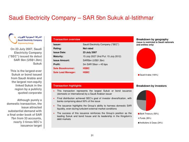 Saudi Electricity Company – SAR 5bn Sukuk al-Istithmar