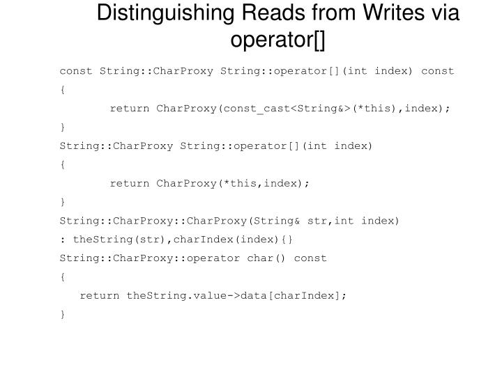 Distinguishing Reads from Writes via operator[]