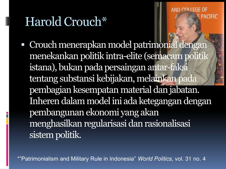 Harold Crouch*