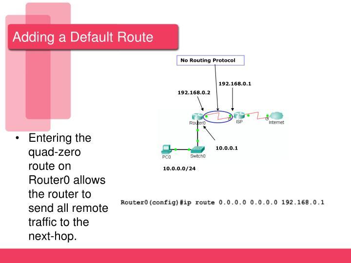 Adding a Default Route