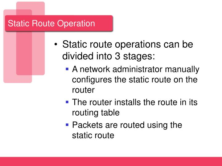 Static Route Operation