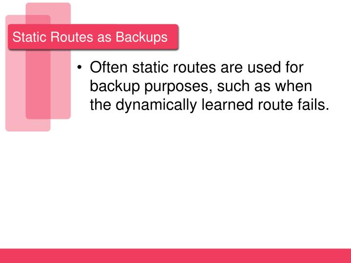 Static Routes as Backups