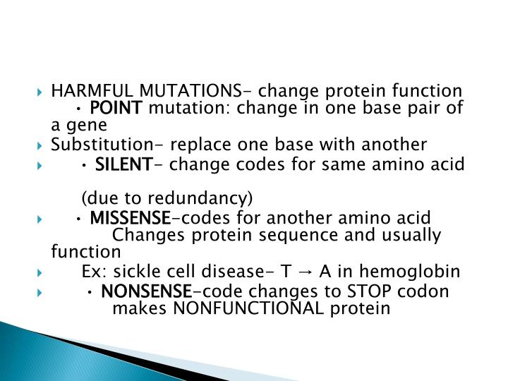 HARMFUL MUTATIONS- change protein function