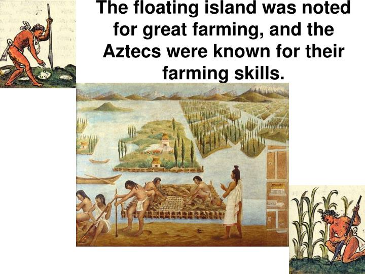 The floating island was noted for great farming, and the Aztecs were known for their farming skills.