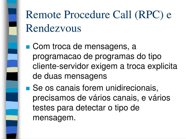 Remote procedure call rpc e rendezvous