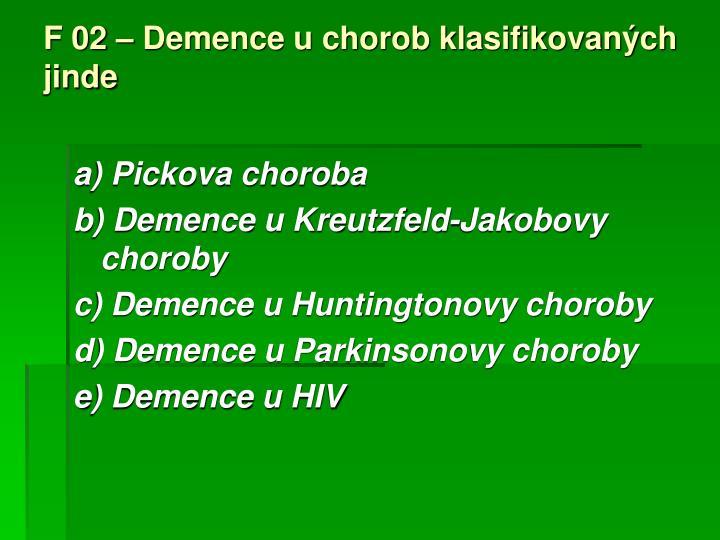 F 02 – Demence u chorob klasifikovaných jinde