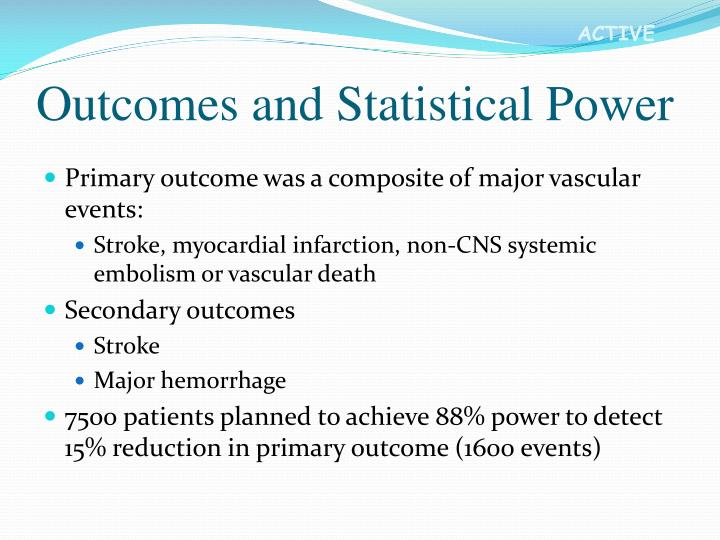 Outcomes and Statistical Power