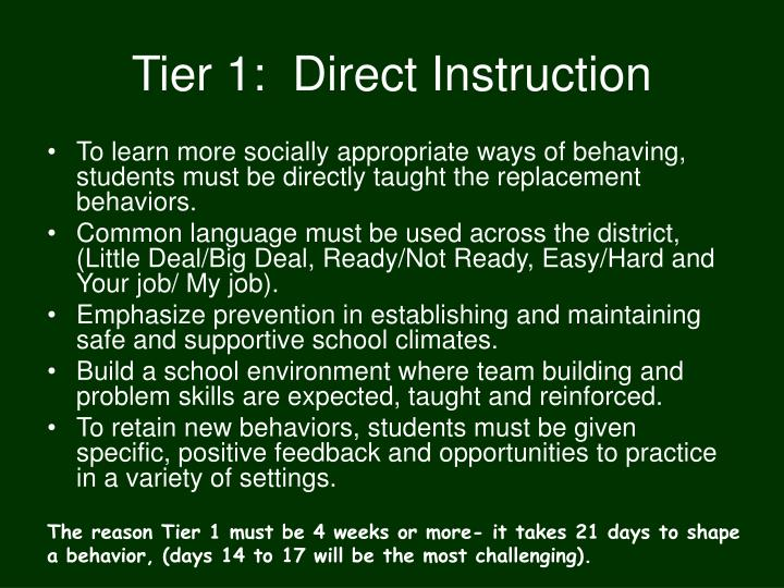 Tier 1:  Direct Instruction