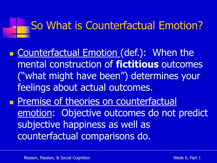 So What is Counterfactual Emotion?