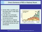 china s dominance of rees is relatively recent