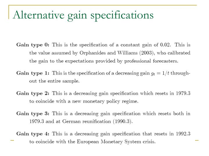 Alternative gain specifications