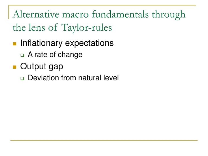 Alternative macro fundamentals through the lens of Taylor-rules