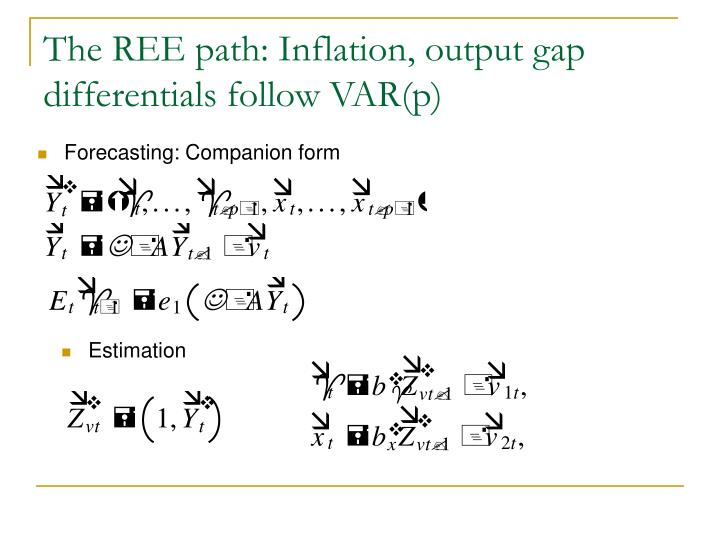 The REE path: Inflation, output gap differentials follow VAR(p)