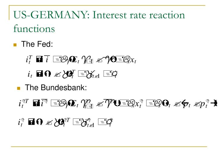 US-GERMANY: Interest rate reaction functions
