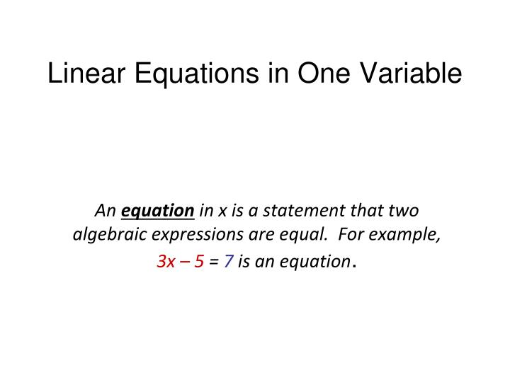 Linear equations in one variable1