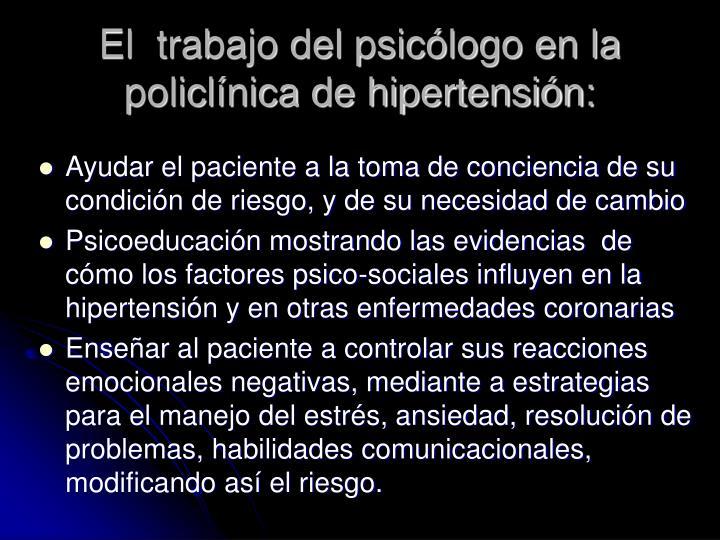 El  trabajo del psicólogo en la policlínica de hipertensión:
