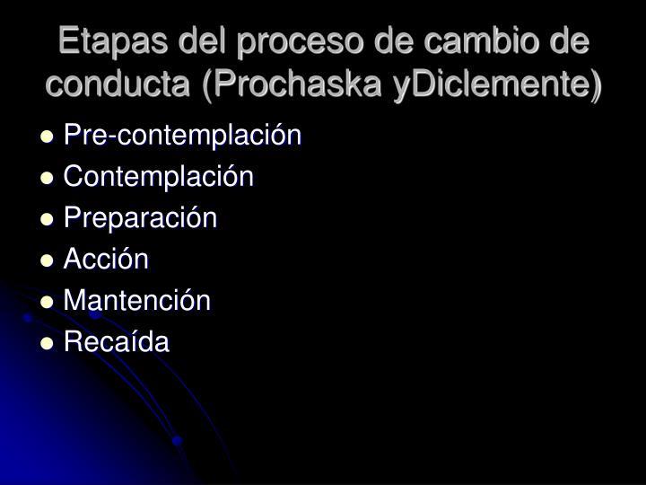 Etapas del proceso de cambio de conducta (Prochaska yDiclemente)