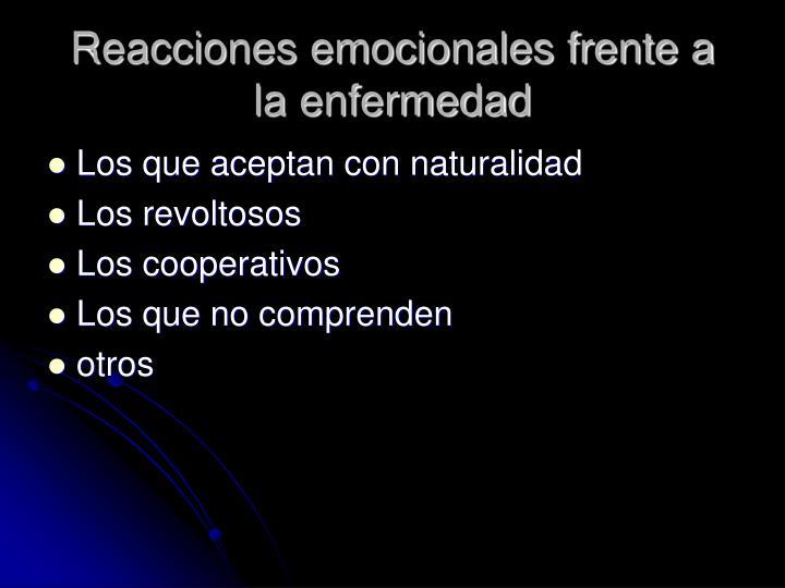 Reacciones emocionales frente a la enfermedad
