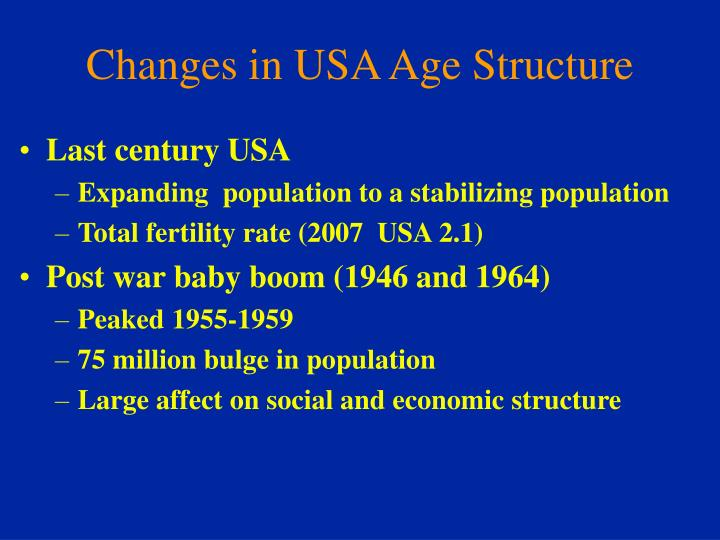 Changes in USA Age Structure