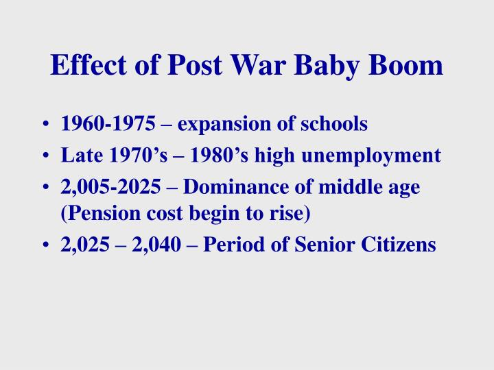 Effect of Post War Baby Boom
