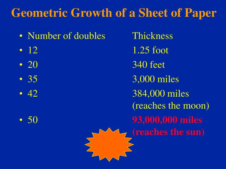 Geometric Growth of a Sheet of Paper