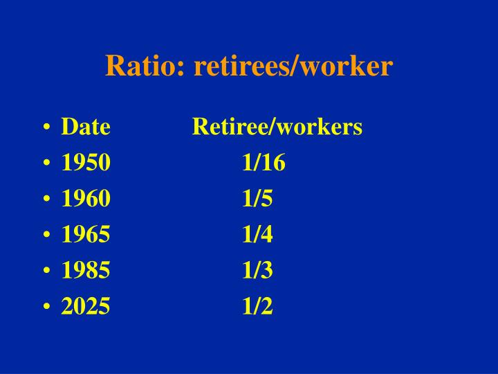 Ratio: retirees/worker