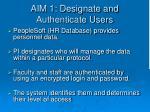 aim 1 designate and authenticate users
