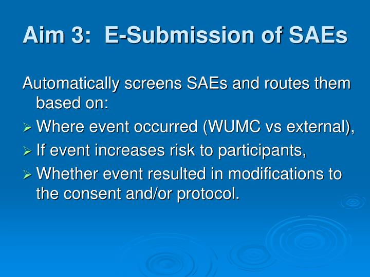 Aim 3:  E-Submission of SAEs
